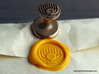 Menorah Wax Seal 3d printed Menorah wax seal with impression in Sunflower Yellow sealing wax