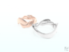Smooth Weave Ring 3d printed Rose Gold & Silver