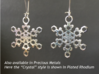 "Frost Snowflake Earrings 3d printed Sample of snowflake earrings in Plated Rhodium (""Crystal"" model)"
