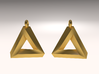 Penrose Triangle - Earrings (17mm | 1x mirrored) 3d printed Matte Gold Steel