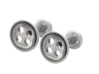 Button Cufflink Set 3d printed Silver Polished