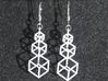 Outline Cube Earings 3d printed Hanging view