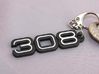 KEYCHAIN LOGO 308 3d printed Keychain with the Ferrari 308 logo in Black Steel with white plastic inserts