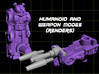 BugBrain Transforming Weaponoid Kit (5mm) 3d printed render of figure in both forms