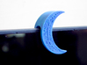 "Crescent Moon Webcam Privacy Shade / Cover / Charm 3d printed Fits on device / laptops lid with max. thickness of approx .375"". You can add a felt inner layer for a perfect and soft fit on narrower tablets and laptop lids - for example this image shows  prototype* of moon on a laptop with lid thickness of about .25"""