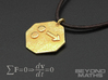 Pendant Newton's First Law 3d printed Polished Gold Steel