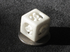 Ball Bearing 6-Sided Die (small) 3d printed White strong and flexible print on a quarter.