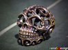 Steampunk Skull filigree 3d printed small 20mm version in Raw Brass - aged