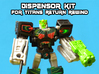 Dewbot/Dispensor 2-Pack for Titans Return Rewind 3d printed Gun printed in white strong and flexible, face in black acrylate (equivalent to FUD in this kit) both hand painted.