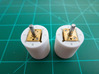 """Bussard Dome Assembly - 1:650 - For DLM Parts - 03 3d printed Two printed parts in """"Strong and Flexible"""" white polished plastic with N20 DC motors fitted in place."""