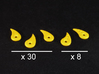 Fatigue tokens (38 pcs) 3d printed White Strong Flexible, spray painted with yellow primer