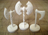 Role Playing Counter: Axes (Set) 3d printed Axes in Strong & Flexible Plastic (Polished White)