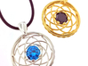 COMING SOON Iris Pendant with two interchangeable  3d printed (Ruby stone shown in Gold plated pendant