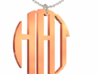 #9 - Monogram Large - Rose Gold Pleated 3d printed