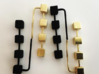 Boxed Earrings 3d printed Raw Brass and Black Strong and Flexible