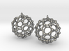 BuckyBall C60 Earring, Silver, 1.7cm. 2 Pieces. 3d printed