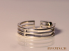 YFU Triple Wire Ring 3d printed Premium Silver