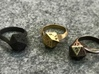 D20 Ring 3d printed Matte Black Steel, 14k Rose Gold Plated, Raw Brass