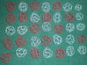 16 small chiral fullerenes (red) 3d printed Chiral red + achiral white (separate package)