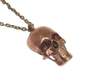 Human skull pendant - 30 mm 3d printed Raw bronze pendant on chain