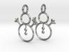 Snowman earrings (precious metals) 3d printed