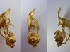 LUX DRACONIS right earring  3d printed LUX DRACONIS dragon earring for right ear, 3D printed in brass