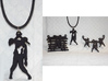 Spike The Zombie Pendant 3d printed Close up & group of zombie pendants (#3 is matte black steel)