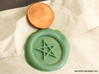 Pentagram Wax Seal 3d printed Just the wax impression in Light Green