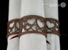 Set of 6 large napkin rings with Hearts 3d printed The photo shows an own print (FDM print) made of brown wood incl. decorative lacing.
