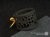 A small napkin ring with Mosaic-3a 3d printed The photo shows an own print (FDM print) made of black wood incl. decorative lacing.