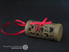 Filigree Gift roll small with Hearts (6 cm) 3d printed The photo shows an own print (FDM print) from a very similar roll made of brown wood incl. decorative lacing.