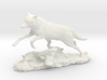 Animal wolf jumps over tree trunk 3d printed