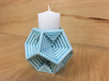 Dodecahedron Votive 3d printed Final product in Gloss Celadon Green with votive candle (not included)