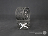 A large Christmas napkin ring with Stars 3d printed The photo shows prints made of black strong and flexible incl. silver lacing.