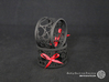 A large napkin ring with Hearts  3d printed The photo shows prints made of black strong and flexible incl. red lacing.