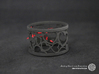 A large napkin ring with Hearts  3d printed The photo shows a print made of black strong and flexible incl. red lacing.