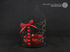 Pointed tealight holder with hearts 3d printed The photo shows prints made of black strong and flexible incl. red lacing.