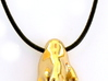 Cahn-Hilliard droplet pendant 3d printed Pendant printed in polished brass on leather cord -- front