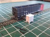 Z- scale signal relay box 4pcs 3d printed Painted relay box compaired to a gondola.