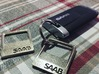 SAAB - Key Ring Pendant Bottle Opener 3d printed Polished Nickel Steel (left) vs Stainless Steel