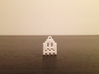 Pac Man Ghost 8-bit Earring 1 (looks down | moving 3d printed NOT this model - White Strong & Flexible Polished