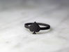 Spade Charm Ring, Matte Black Steel 3d printed