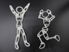 Ragdoll Pendant (11 parts) 3d printed Frosted Ultra Detail next to its 5-part sibling.