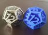 D12 - Plunged Sides 3d printed Steel & Blue Nylon Plastic