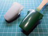 1/20th 1967 Lotus 49 nose cone 3d printed low resolution test print, compared with the original kit part
