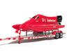 """1/87 Formula-1 Speedboat Trailer 3d printed 1/87 F1 speedboat """"Budweiser"""" on trailer"""