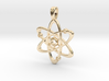 Gold Plate Atom Necklace Symbol 3d printed