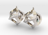 Twisted Cube Earrings 3d printed
