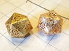 D20 Balanced - Lace 3d printed Brass (Left) and Bronze (Right)