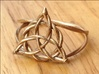 Woven triquetra (choose size) 3d printed The woven triquetra ring in raw bronze.